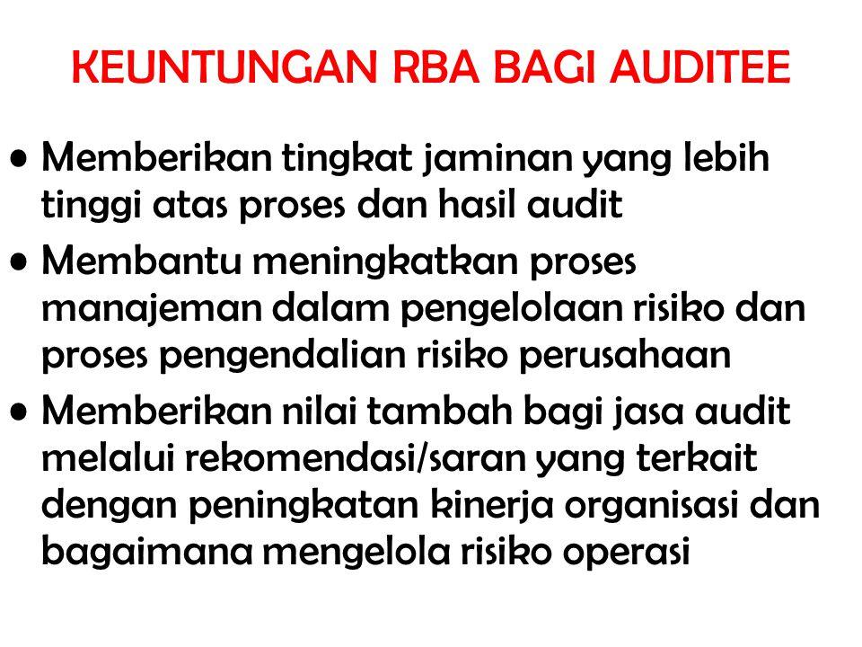KEUNTUNGAN RBA BAGI AUDITEE Memberikan tingkat jaminan yang lebih tinggi atas proses dan hasil audit Membantu meningkatkan proses manajeman dalam peng
