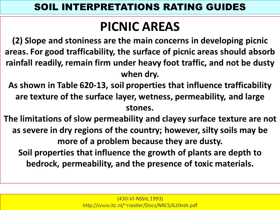 SOIL INTERPRETATIONS RATING GUIDES (430-VI-NSSH, 1993) http://www.itc.nl/~rossiter/Docs/NRCS/620nsh.pdf PICNIC AREAS (2) Slope and stoniness are the main concerns in developing picnic areas.