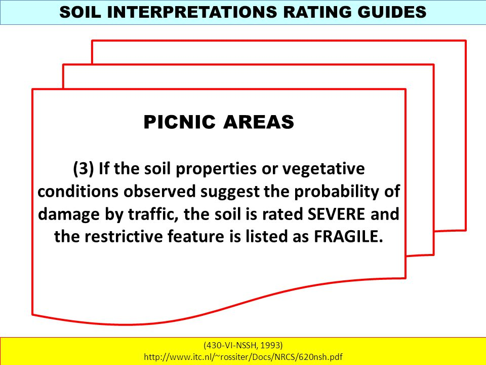 SOIL INTERPRETATIONS RATING GUIDES (430-VI-NSSH, 1993) http://www.itc.nl/~rossiter/Docs/NRCS/620nsh.pdf PICNIC AREAS (3) If the soil properties or vegetative conditions observed suggest the probability of damage by traffic, the soil is rated SEVERE and the restrictive feature is listed as FRAGILE.