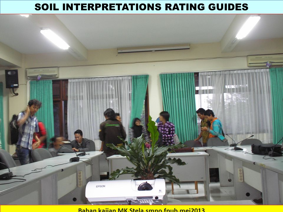 SOIL INTERPRETATIONS RATING GUIDES Bahan kajian MK.Stela.smno.fpub.mei2013