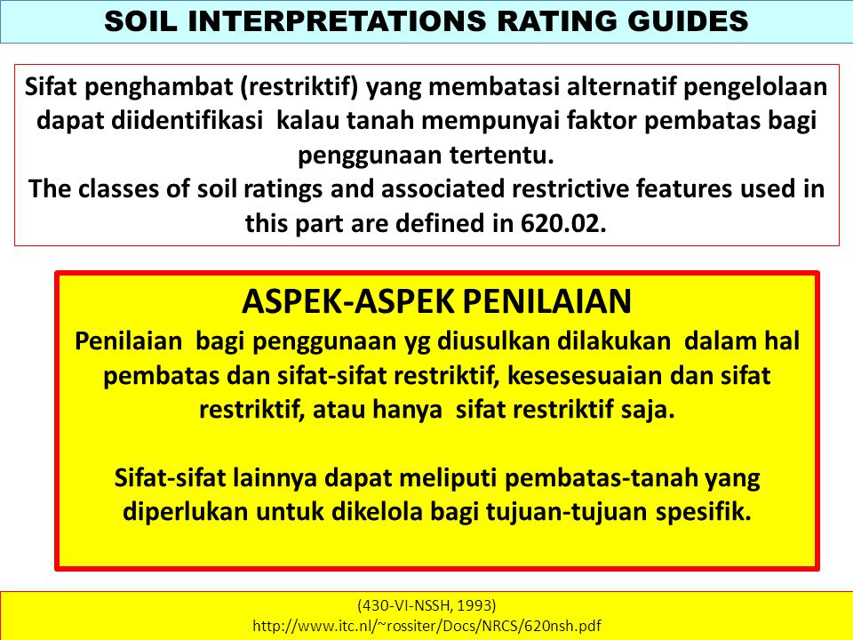 SOIL INTERPRETATIONS RATING GUIDES (430-VI-NSSH, 1993) http://www.itc.nl/~rossiter/Docs/NRCS/620nsh.pdf Sifat penghambat (restriktif) yang membatasi a