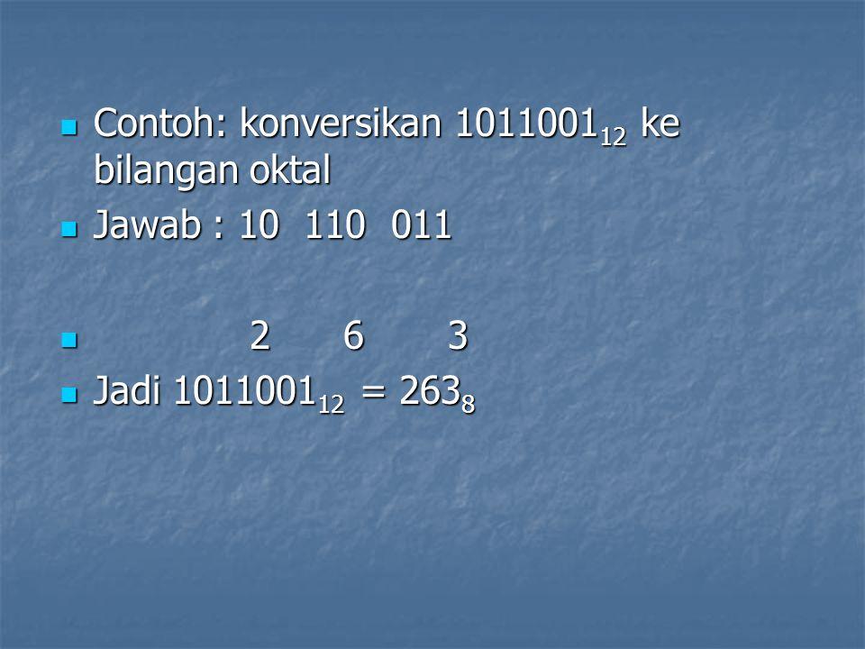 Contoh: konversikan 1011001 12 ke bilangan oktal Contoh: konversikan 1011001 12 ke bilangan oktal Jawab : 10 110 011 Jawab : 10 110 011 2 6 3 2 6 3 Ja