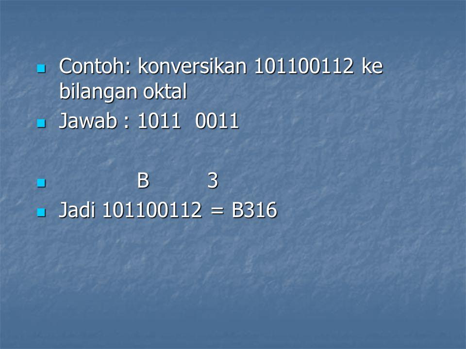 Contoh: konversikan 101100112 ke bilangan oktal Contoh: konversikan 101100112 ke bilangan oktal Jawab : 1011 0011 Jawab : 1011 0011 B 3 B 3 Jadi 10110