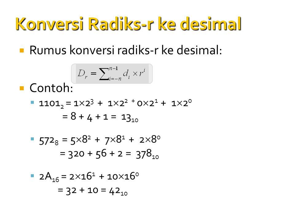 Konversi Radiks-r ke desimal  Rumus konversi radiks-r ke desimal:  Contoh:  1101 2 = 1  2 3 + 1  2 2 + 0  2 1 + 1  2 0 = 8 + 4 + 1 = 13 10 = 8