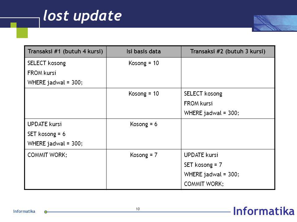 Informatika 10 lost update Transaksi #1 (butuh 4 kursi)Isi basis dataTransaksi #2 (butuh 3 kursi) SELECT kosong FROM kursi WHERE jadwal = 300; Kosong