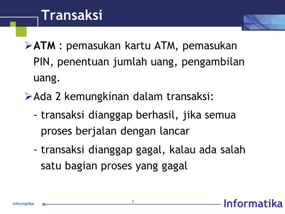 Informatika 2 Transaksi  ATM : pemasukan kartu ATM, pemasukan PIN, penentuan jumlah uang, pengambilan uang.  Ada 2 kemungkinan dalam transaksi: - tr