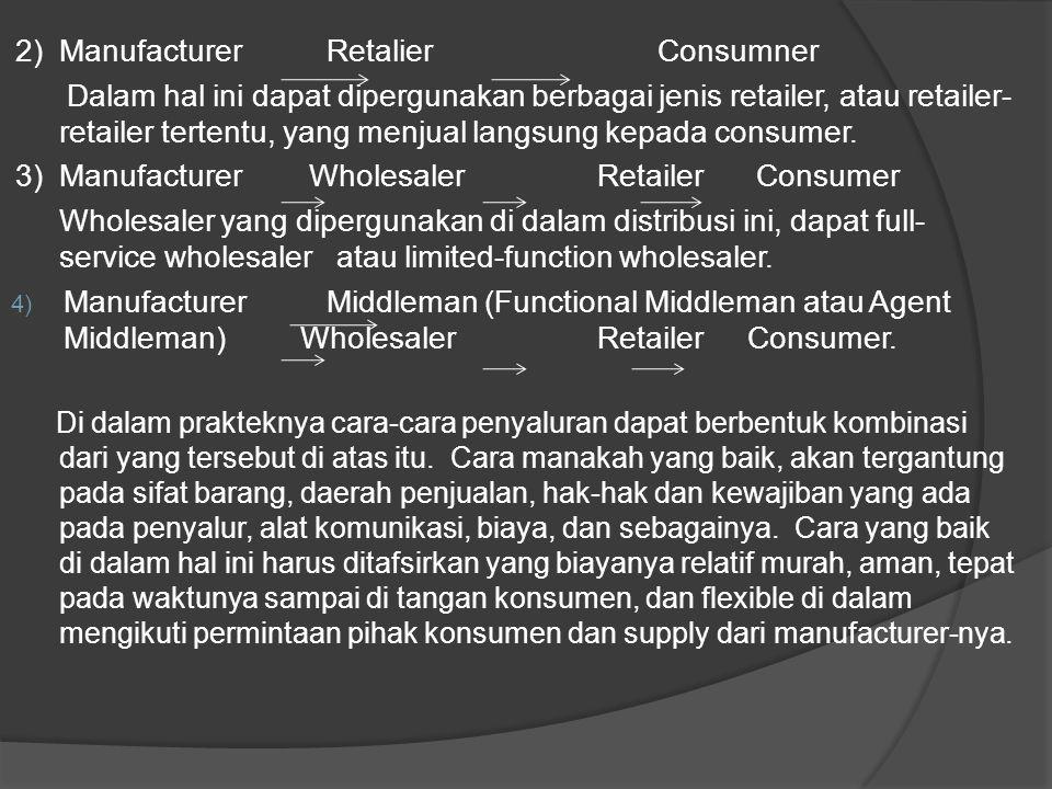 2) Manufacturer Retalier Consumner Dalam hal ini dapat dipergunakan berbagai jenis retailer, atau retailer- retailer tertentu, yang menjual langsung k