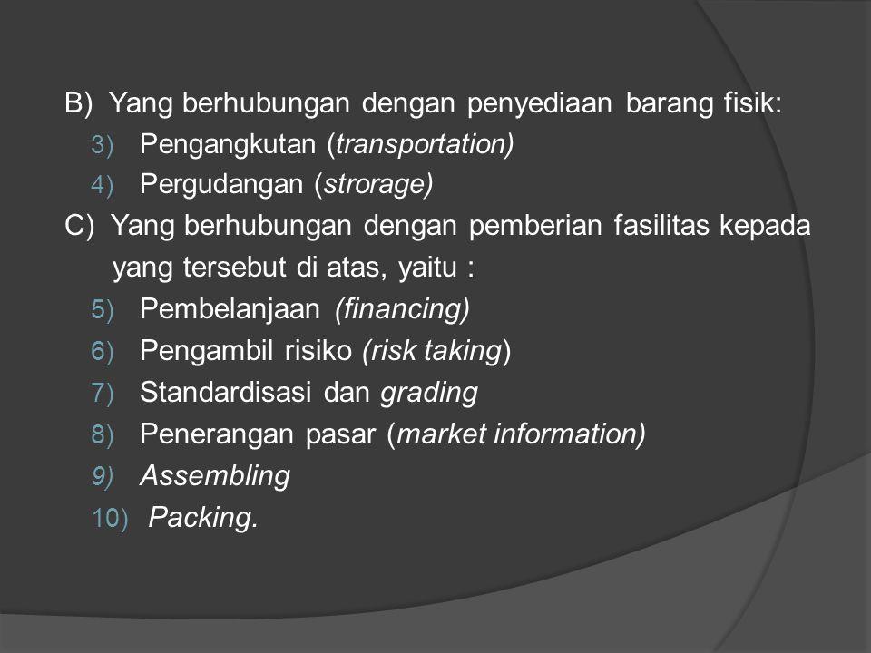 B) Yang berhubungan dengan penyediaan barang fisik: 3) Pengangkutan (transportation) 4) Pergudangan (strorage) C) Yang berhubungan dengan pemberian fa