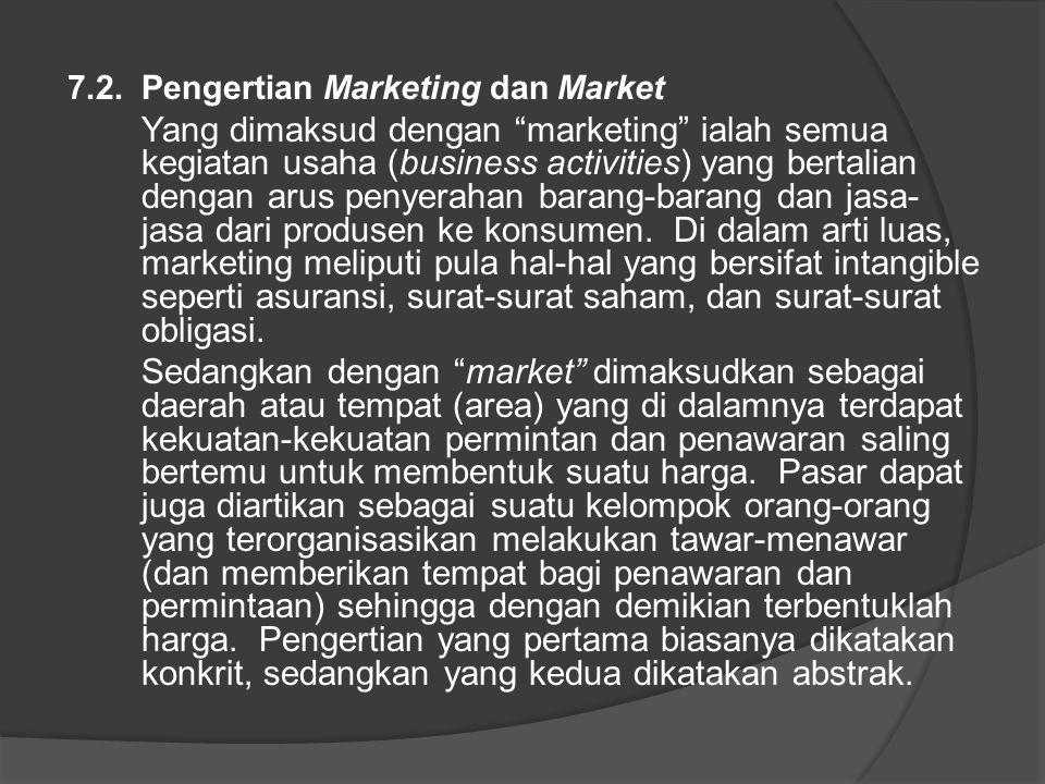 """7.2. Pengertian Marketing dan Market Yang dimaksud dengan """"marketing"""" ialah semua kegiatan usaha (business activities) yang bertalian dengan arus peny"""