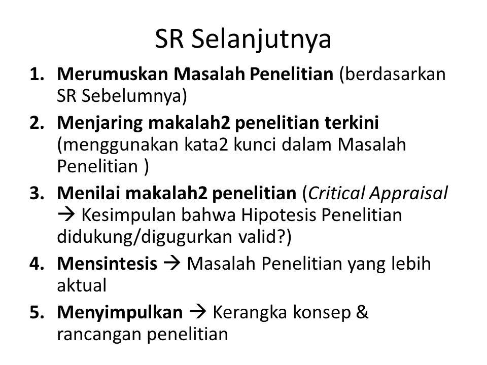 SR Selanjutnya 1.Merumuskan Masalah Penelitian (berdasarkan SR Sebelumnya) 2.Menjaring makalah2 penelitian terkini (menggunakan kata2 kunci dalam Masa