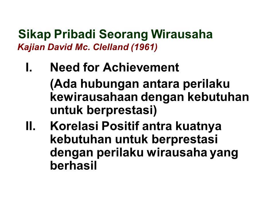 I. Need for Achievement (Ada hubungan antara perilaku kewirausahaan dengan kebutuhan untuk berprestasi) II. Korelasi Positif antra kuatnya kebutuhan u