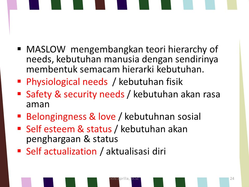 MASLOW's Hierarchy of Need Rini Aprilia, M.Sc23
