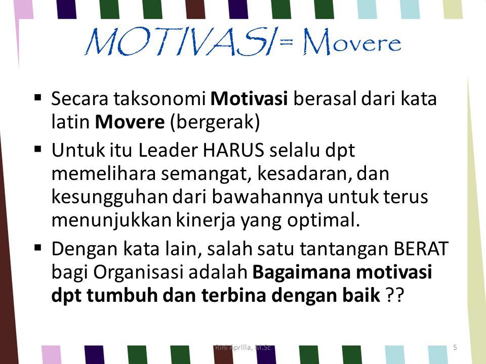 MOTIVASI = Movere  Secara taksonomi Motivasi berasal dari kata latin Movere (bergerak)  Untuk itu Leader HARUS selalu dpt memelihara semangat, kesadaran, dan kesungguhan dari bawahannya untuk terus menunjukkan kinerja yang optimal.