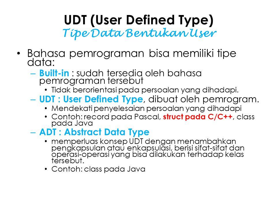 UDT (User Defined Type) Tipe Data Bentukan User Bahasa pemrograman bisa memiliki tipe data: – Built-in : sudah tersedia oleh bahasa pemrograman tersebut Tidak berorientasi pada persoalan yang dihadapi.