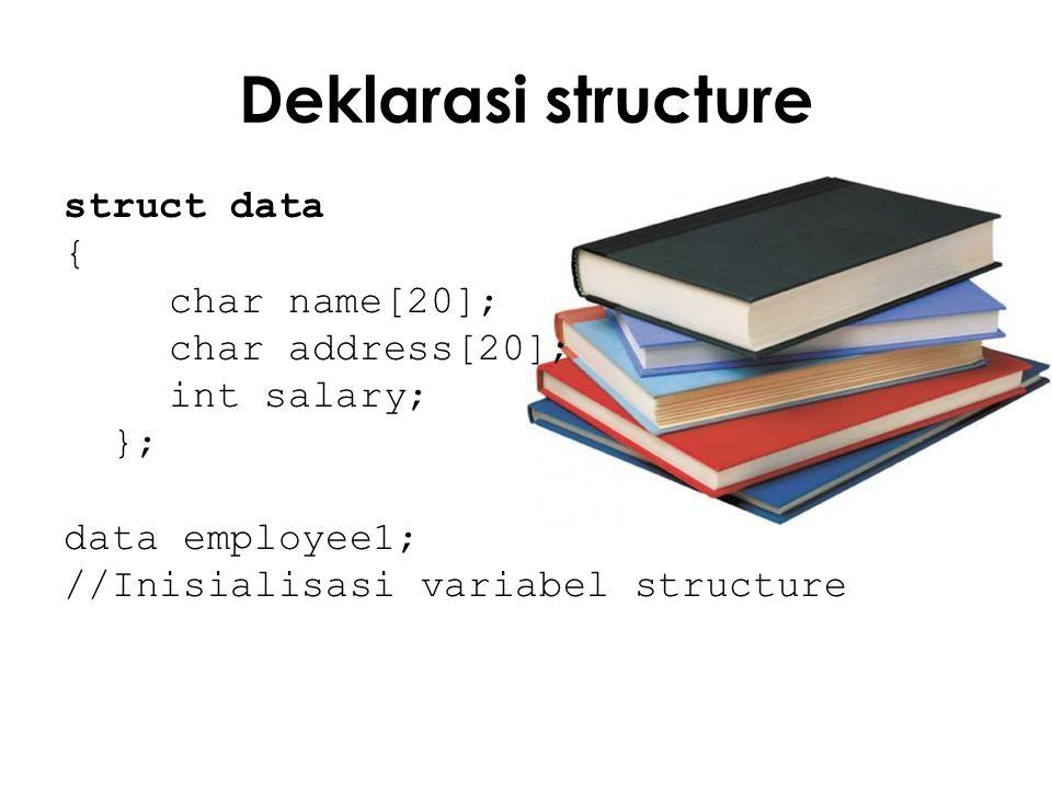 Masukan int main() { cout << Employee s name : ; cin >> employee1.name; cout << Employee s address : ; cin >> employee1.address; cout << Employee s salary : ; cin >> employee1.salary;