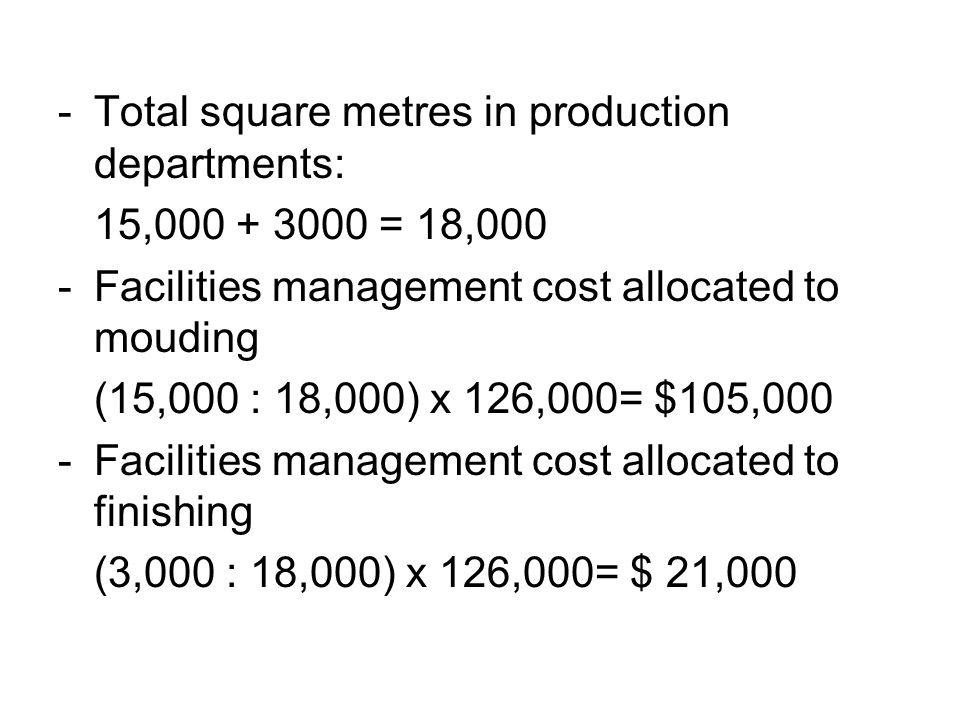 Sama seperti biaya departemen personalia dialokasikan hanya ke departemen produksi berdasarkan jumlah pekerja: - Total employees in production departments: 80 + 320 = 400 - personnel cost allocated to moulding (80 : 400) x $24,000= $4,800 - personnel cost allocated to finishing (320 : 400) x $24,000= $ 19,200