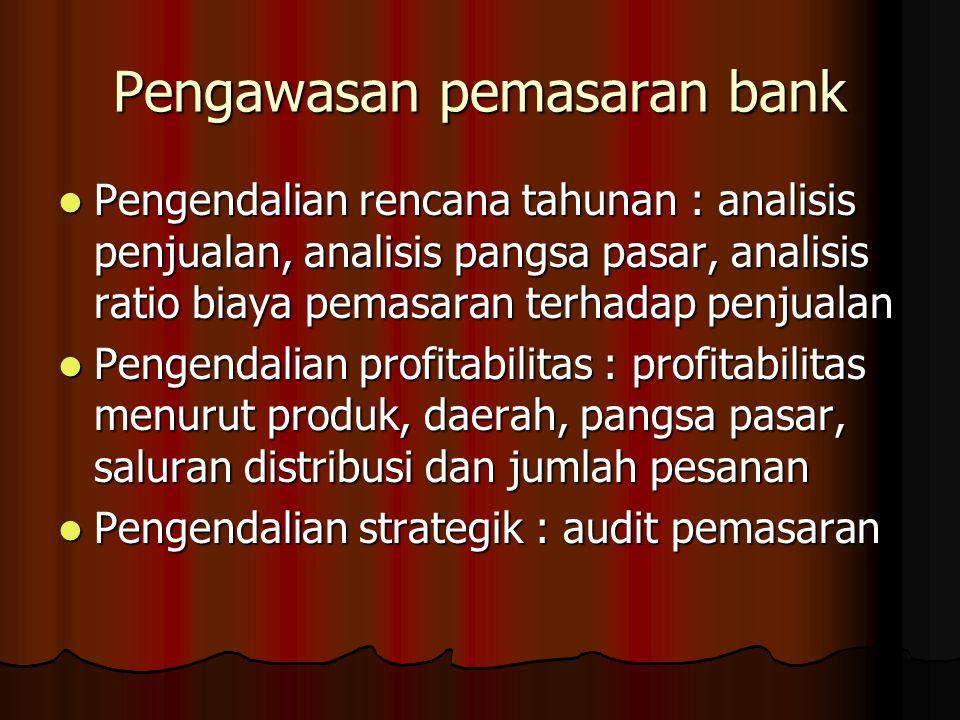 Pengawasan pemasaran bank Pengendalian rencana tahunan : analisis penjualan, analisis pangsa pasar, analisis ratio biaya pemasaran terhadap penjualan