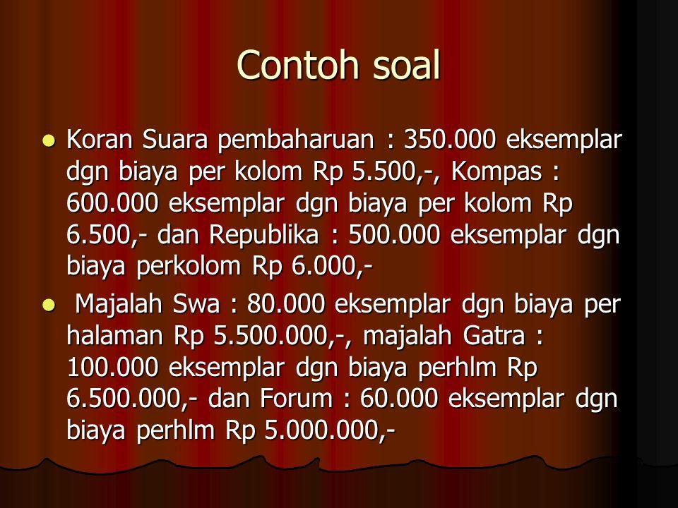 Contoh soal Koran Suara pembaharuan : 350.000 eksemplar dgn biaya per kolom Rp 5.500,-, Kompas : 600.000 eksemplar dgn biaya per kolom Rp 6.500,- dan
