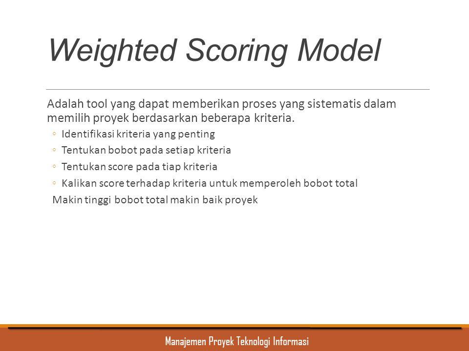 Manajemen Proyek Teknologi Informasi Weighted Scoring Model Adalah tool yang dapat memberikan proses yang sistematis dalam memilih proyek berdasarkan