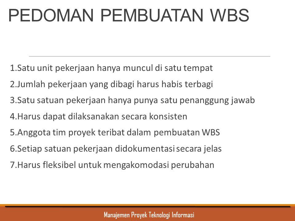 Manajemen Proyek Teknologi Informasi PEDOMAN PEMBUATAN WBS 1.Satu unit pekerjaan hanya muncul di satu tempat 2.Jumlah pekerjaan yang dibagi harus habi