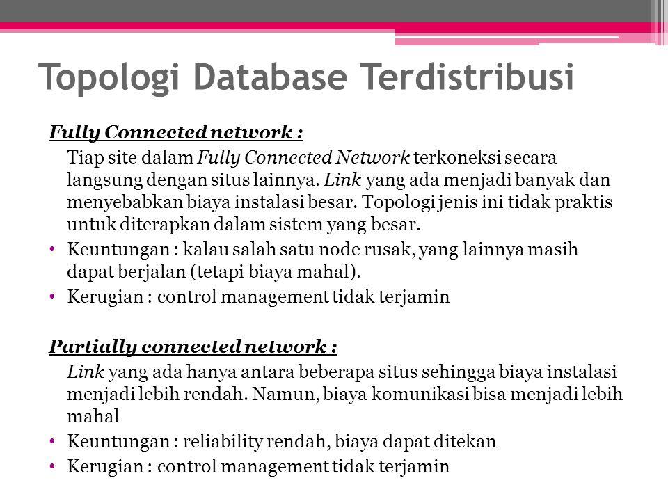 Fully Connected network : Tiap site dalam Fully Connected Network terkoneksi secara langsung dengan situs lainnya. Link yang ada menjadi banyak dan me