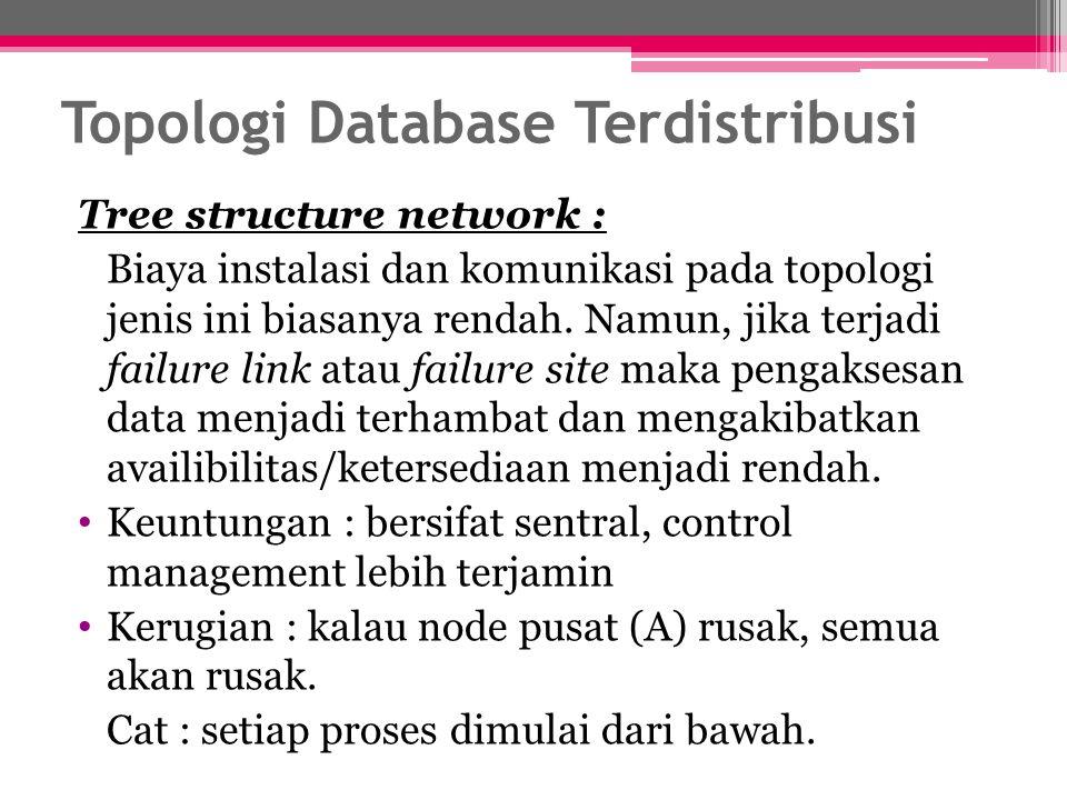 Tree structure network : Biaya instalasi dan komunikasi pada topologi jenis ini biasanya rendah. Namun, jika terjadi failure link atau failure site ma