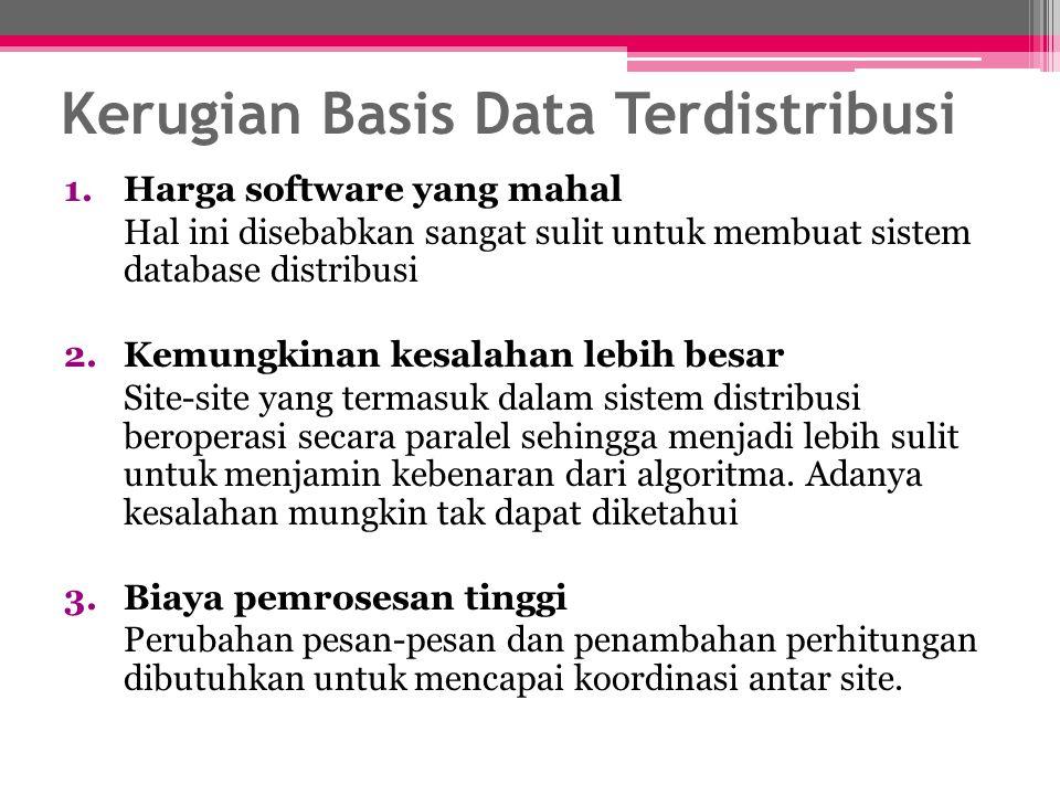 Kerugian Basis Data Terdistribusi 1.Harga software yang mahal Hal ini disebabkan sangat sulit untuk membuat sistem database distribusi 2.Kemungkinan k