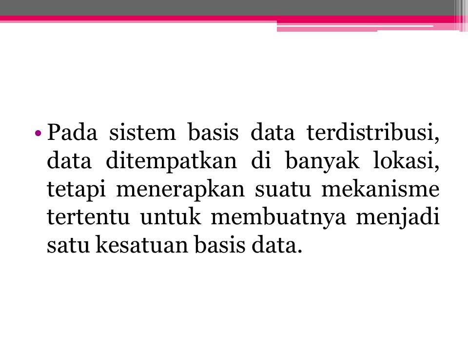 PENGERTIAN Basisdata Terdistribusi: Secara logik keterhubungan dari kumpulan- kumpulan data yang digunakan bersama-sama, dan didistribusikan melalui suatu jaringan komputer DBMS Terdistribusi: Sebuah sistem perangkat lunak yang mengatur basis data terdistribusi dan membuat pendistribusian data secara transparan.