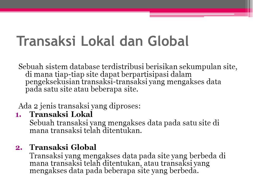 Transaksi Lokal dan Global Sebuah sistem database terdistribusi berisikan sekumpulan site, di mana tiap-tiap site dapat berpartisipasi dalam pengeksek