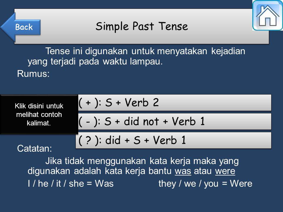 Simple Past Tense Tense ini digunakan untuk menyatakan kejadian yang terjadi pada waktu lampau.