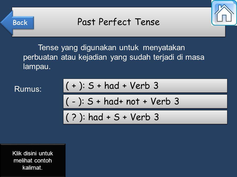 Tense yang digunakan untuk menyatakan perbuatan atau kejadian yang sudah terjadi di masa lampau.