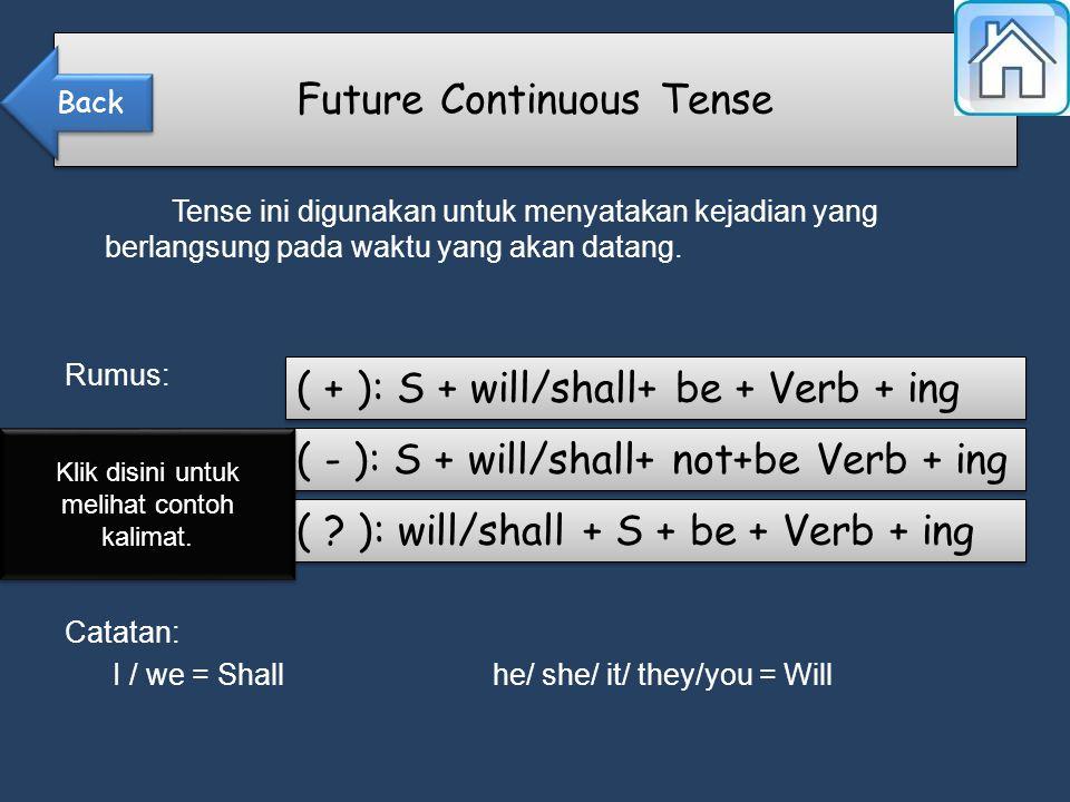 Tense ini digunakan untuk menyatakan kejadian yang berlangsung pada waktu yang akan datang.