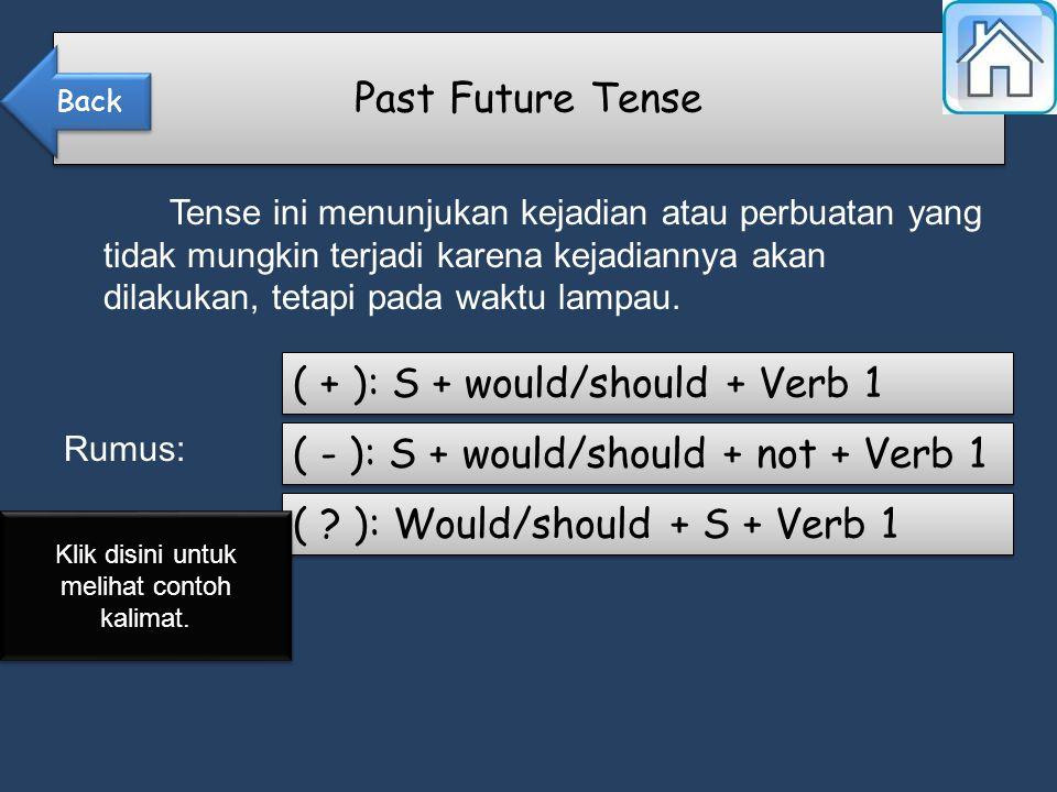 Tense ini menunjukan kejadian atau perbuatan yang tidak mungkin terjadi karena kejadiannya akan dilakukan, tetapi pada waktu lampau.