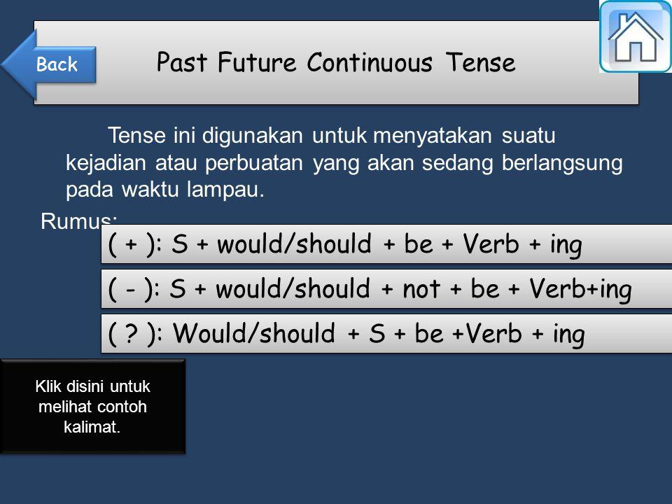 Tense ini digunakan untuk menyatakan suatu kejadian atau perbuatan yang akan sedang berlangsung pada waktu lampau.