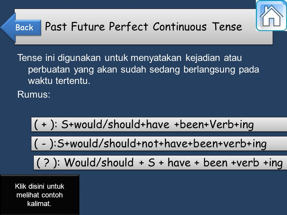 Tense ini digunakan untuk menyatakan kejadian atau perbuatan yang akan sudah sedang berlangsung pada waktu tertentu.