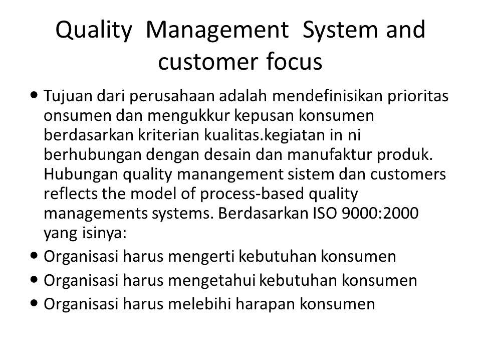 Quality Management System and customer focus Tujuan dari perusahaan adalah mendefinisikan prioritas onsumen dan mengukkur kepusan konsumen berdasarkan kriterian kualitas.kegiatan in ni berhubungan dengan desain dan manufaktur produk.