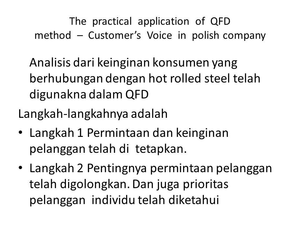Analisis dari keinginan konsumen yang berhubungan dengan hot rolled steel telah digunakna dalam QFD Langkah-langkahnya adalah Langkah 1 Permintaan dan keinginan pelanggan telah di tetapkan.