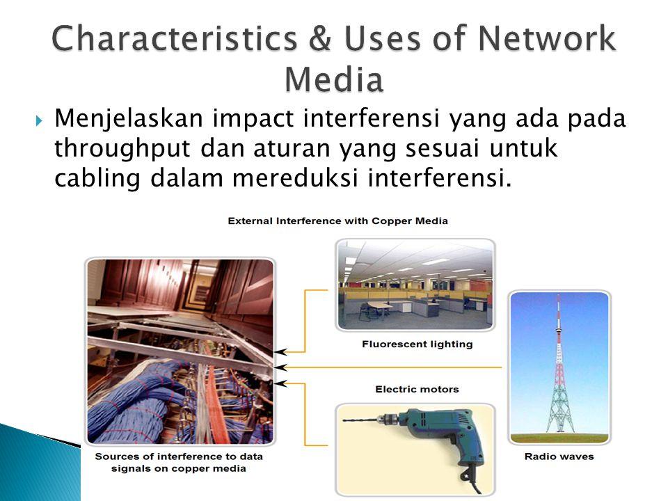 Menjelaskan impact interferensi yang ada pada throughput dan aturan yang sesuai untuk cabling dalam mereduksi interferensi.