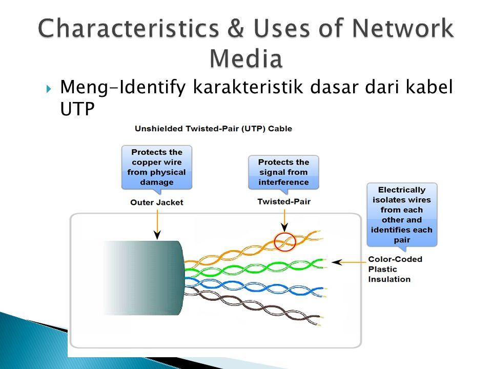  Meng-Identify karakteristik dasar dari kabel UTP