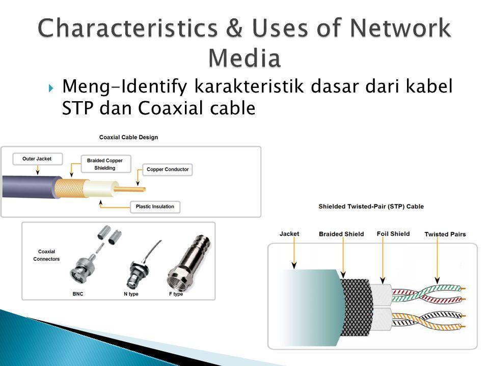  Meng-Identify karakteristik dasar dari kabel STP dan Coaxial cable