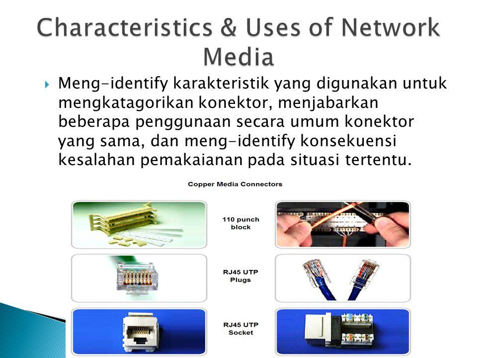 Meng-identify karakteristik yang digunakan untuk mengkatagorikan konektor, menjabarkan beberapa penggunaan secara umum konektor yang sama, dan meng-
