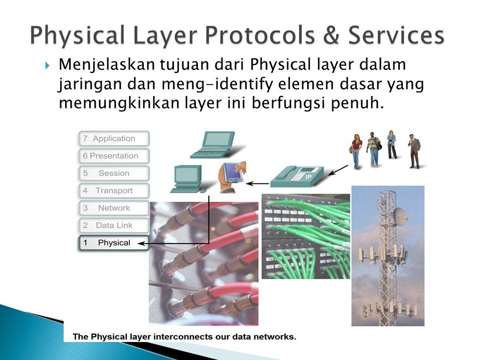  Menjelaskan tujuan dari Physical layer dalam jaringan dan meng-identify elemen dasar yang memungkinkan layer ini berfungsi penuh.