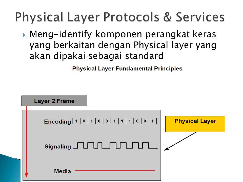  Meng-identify komponen perangkat keras yang berkaitan dengan Physical layer yang akan dipakai sebagai standard