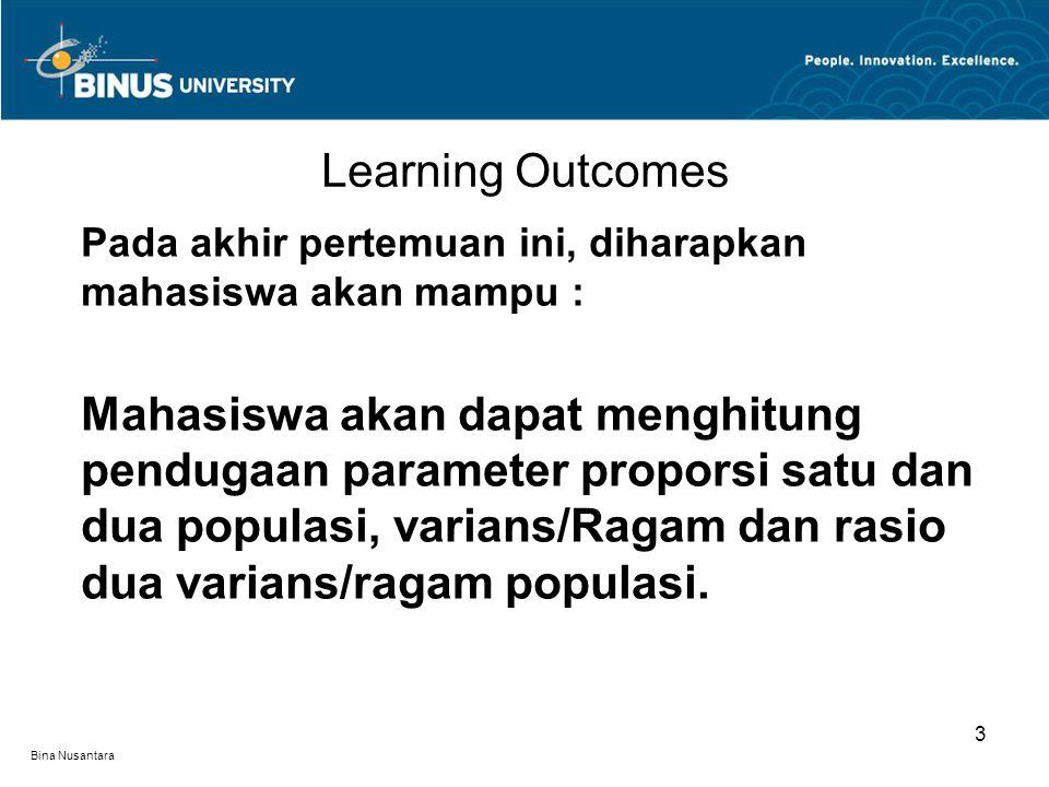 Bina Nusantara Learning Outcomes 3 Pada akhir pertemuan ini, diharapkan mahasiswa akan mampu : Mahasiswa akan dapat menghitung pendugaan parameter proporsi satu dan dua populasi, varians/Ragam dan rasio dua varians/ragam populasi.