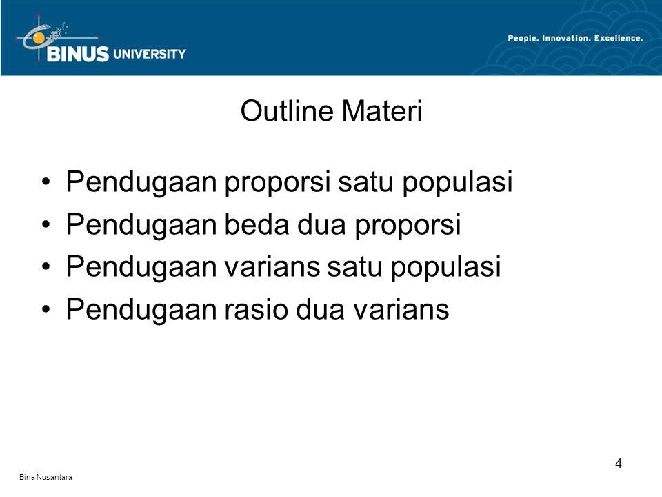 Bina Nusantara Outline Materi 4 Pendugaan proporsi satu populasi Pendugaan beda dua proporsi Pendugaan varians satu populasi Pendugaan rasio dua varia
