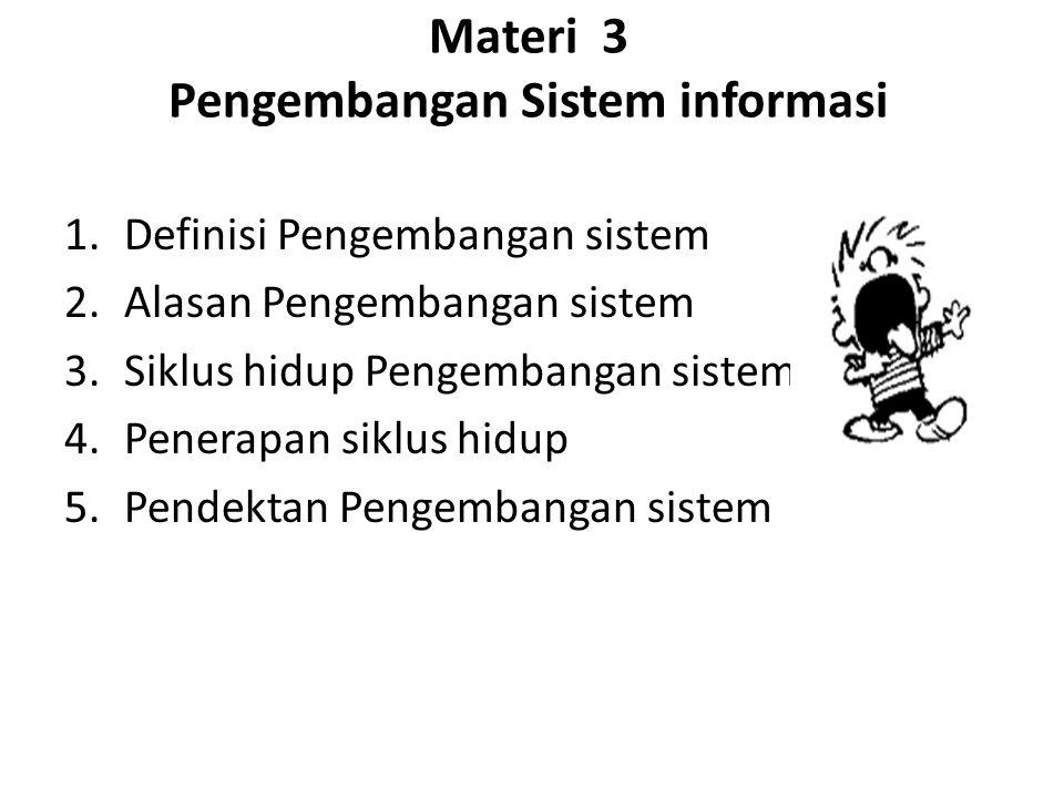 Materi 3 Pengembangan Sistem informasi 1.Definisi Pengembangan sistem 2.Alasan Pengembangan sistem 3.Siklus hidup Pengembangan sistem 4.Penerapan siklus hidup 5.Pendektan Pengembangan sistem