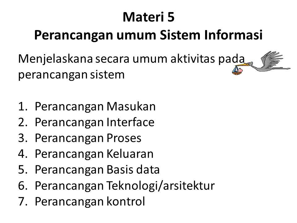Materi 5 Perancangan umum Sistem Informasi Menjelaskana secara umum aktivitas pada perancangan sistem 1.Perancangan Masukan 2.Perancangan Interface 3.Perancangan Proses 4.Perancangan Keluaran 5.Perancangan Basis data 6.Perancangan Teknologi/arsitektur 7.Perancangan kontrol