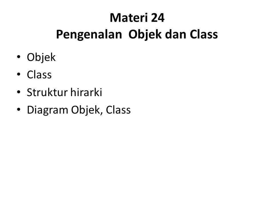 Materi 24 Pengenalan Objek dan Class Objek Class Struktur hirarki Diagram Objek, Class