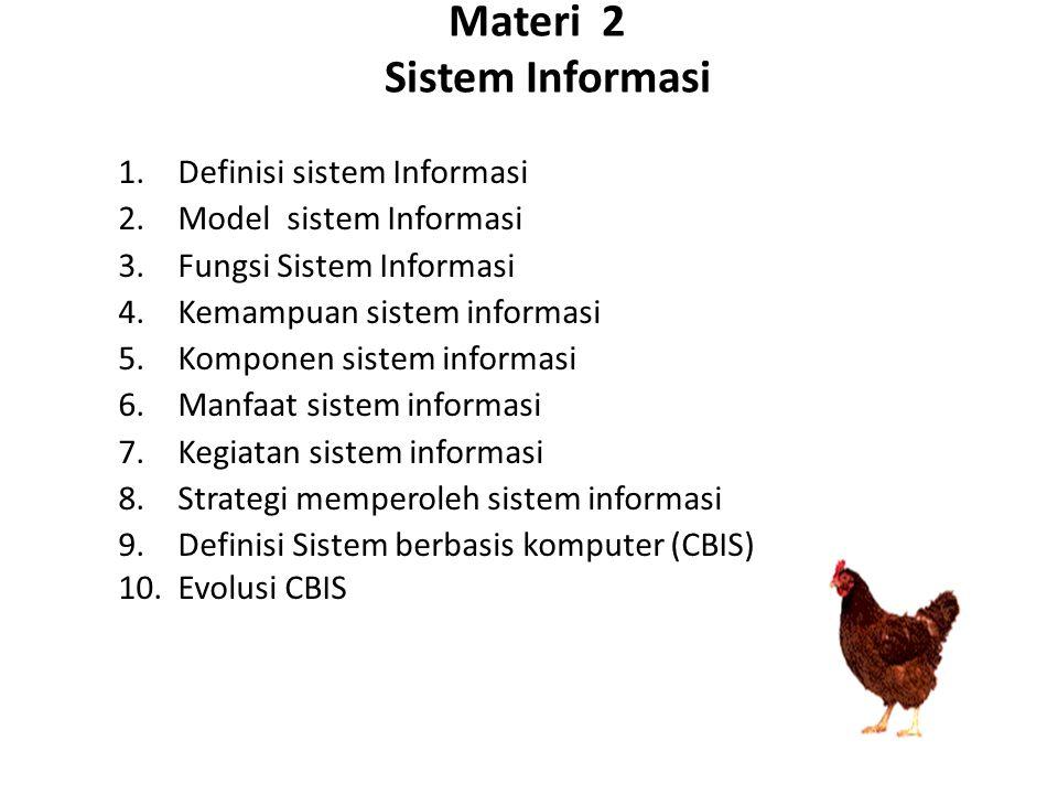 Materi 2 Sistem Informasi 1.Definisi sistem Informasi 2.Model sistem Informasi 3.Fungsi Sistem Informasi 4.Kemampuan sistem informasi 5.Komponen sistem informasi 6.Manfaat sistem informasi 7.Kegiatan sistem informasi 8.Strategi memperoleh sistem informasi 9.Definisi Sistem berbasis komputer (CBIS) 10.Evolusi CBIS