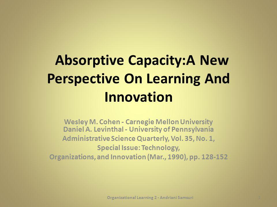 PENDAHULUAN Beberapa riset menunjukkan bahwa source of knowledge merupakan hal yang penting dalam proses inovasi pada setiap tingkat organisasi dimana unit inovasi itu ada.
